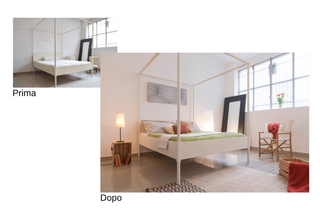 Prima e dopo di una camera da letto. Il prima è spoglio, il dopo è reso vivace ed accogliente con l'aggiunta di accessori come copriletto, cuscini, sedia, tappeto, comodino, lampada, quadro.