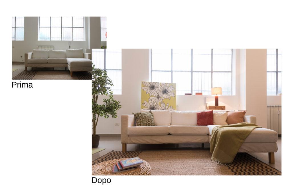prima e dopo salotto non allestito e allestito con luci quadri pianta cuscini