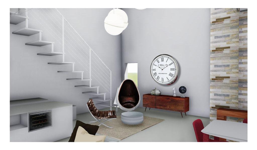 render di interno abitativo con oggettistica di design e mobili di arredo